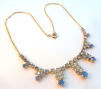 Vintage Art Deco Style Blue Rhinestone Dropper Necklace.